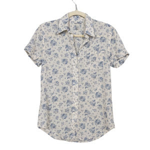LUCKY BRAND Wht Blue Floral Print Short Sleeve XS